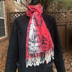 Red and White Floral Graphic Scarf/Wrap W/ Fringe